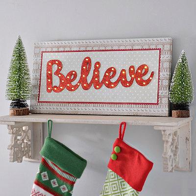 Christmas Pattern Believe LED Canvas Art Print