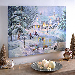 A Fine Winter's Eve LED Canvas Art Print