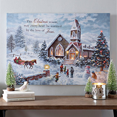 Christmas Church LED Canvas Art Print
