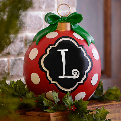 Red Polka Dot Monogram L Ornament Statue