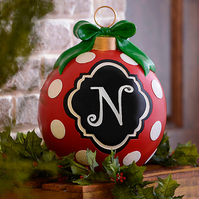 Red Polka Dot Monogram N Ornament Statue