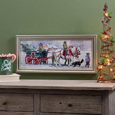 Pony Pulling Tree Framed Art Print