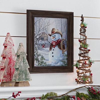 Cowboy Snowman Framed Art Print