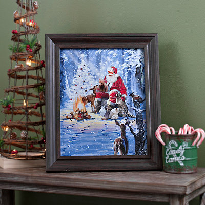 Santa in the Woods Framed Art Print