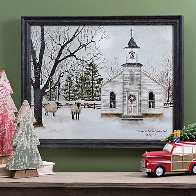Snowy Churchyard Pasture Framed Art Print