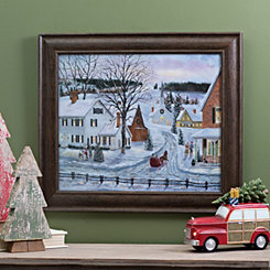 Christmas in a Small Town Framed Art Print