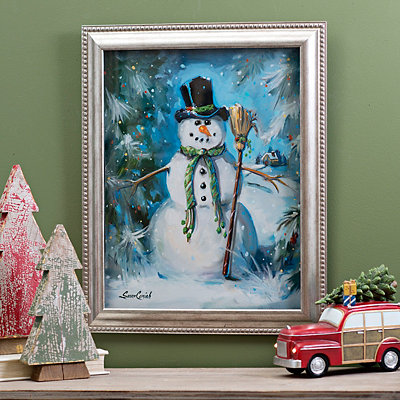 Snowman with Broom Framed Art Print