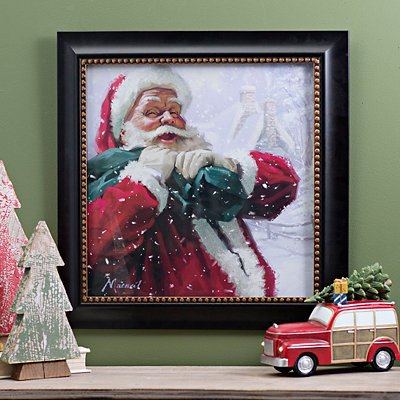 Jolly Delivery Santa Framed Art Print