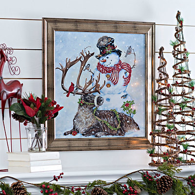 Snowman with Reindeer Framed Art Print