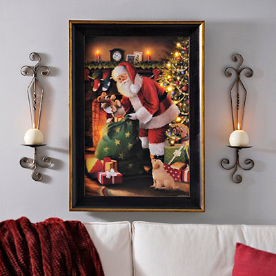 LED Santa's Delivery Framed Art Print