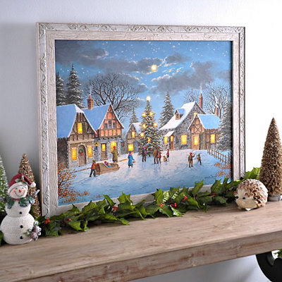 LED Christmas Village Framed Art Print