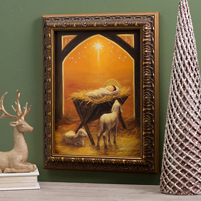 Christmas Manger Framed Art Print
