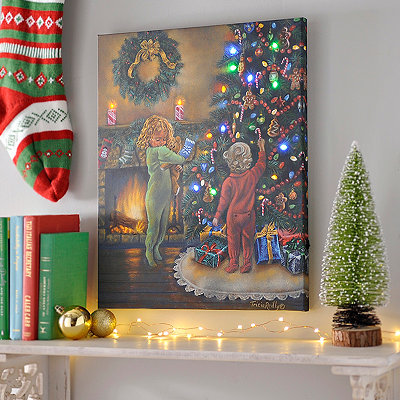 Decorating The Tree LED Canvas Art Print