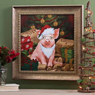 Gilbert Plays Santa Framed Art Print