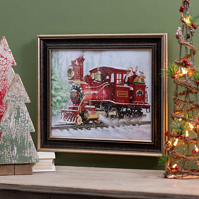 Santa Train Framed Art Print