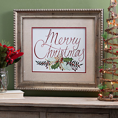 Merry Christmas Linen Mat Framed Art Print