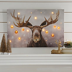 Holiday Moose LED Canvas Art Print