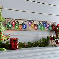 Merry Christmas Lights LED Canvas Art Print