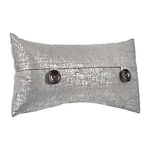 Silver Metallic Button Accent Pillow