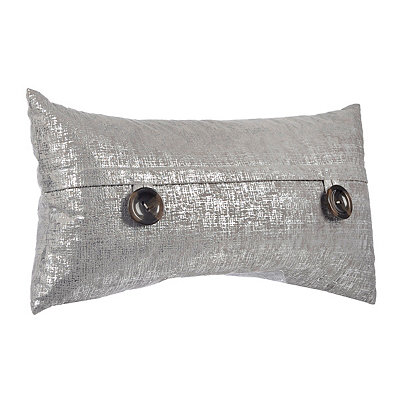 Silver Metallic Button Accent Pillow