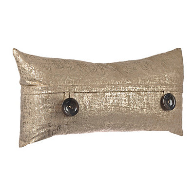 Gold Metallic Button Accent Pillow