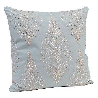 Aqua Studded Pillow with Faux Leather Back