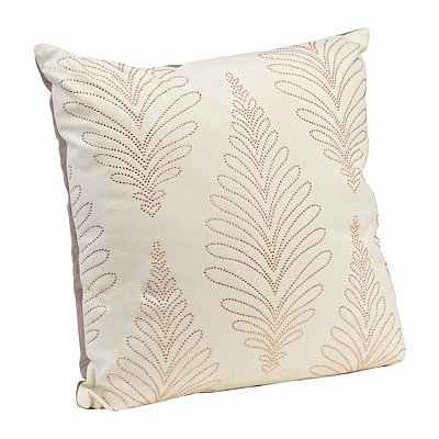 Ivory Studded Pillow with Faux Leather Back
