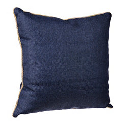 Navy Burlap Cord Trim Pillow