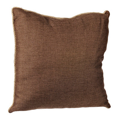 Brown Burlap Cord Trim Pillow