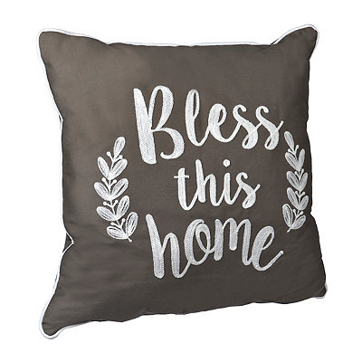 Brown Bless This Home Pillow