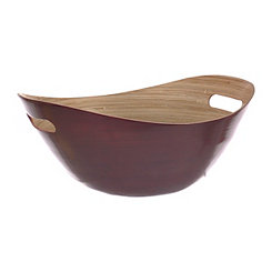 Red Bamboo Bowl with Handles