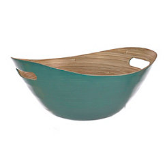 Turquoise Bamboo Bowl with Handles