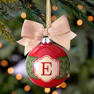 Red and Green Monogram E Ornament