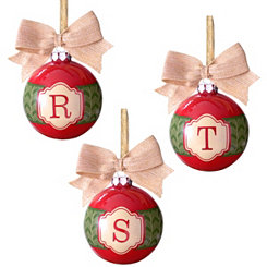 Red and Green Monogram Ornaments