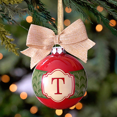 Red and Green Monogram T Ornament