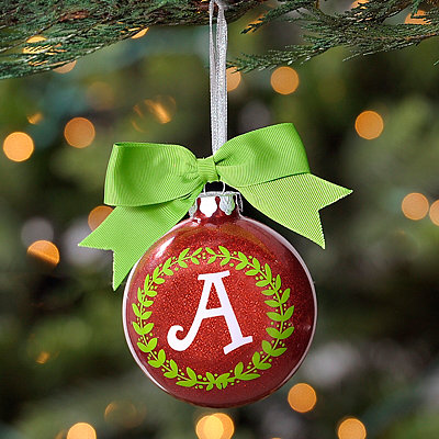 Wreath Glitter Monogram A Ornament