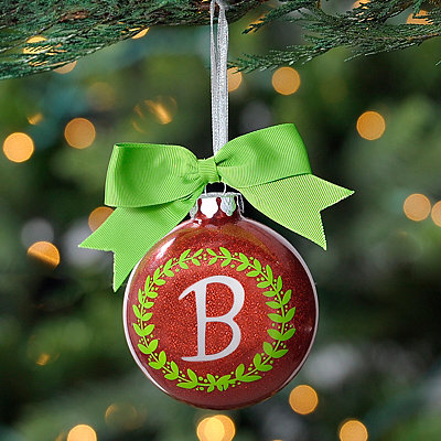 Wreath Glitter Monogram B Ornament