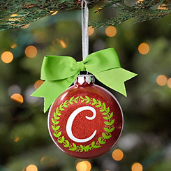 Wreath Glitter Monogram C Ornament