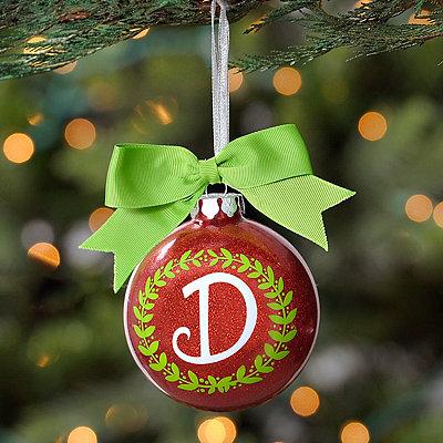 Wreath Glitter Monogram D Ornament
