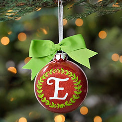 Wreath Glitter Monogram E Ornament
