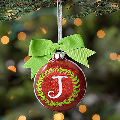 Wreath Glitter Monogram J Ornament