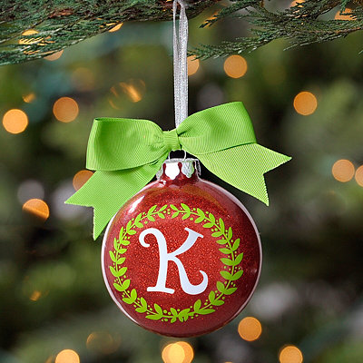 Wreath Glitter Monogram K Ornament
