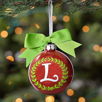 Wreath Glitter Monogram L Ornament