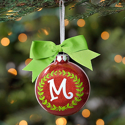 Wreath Glitter Monogram M Ornament