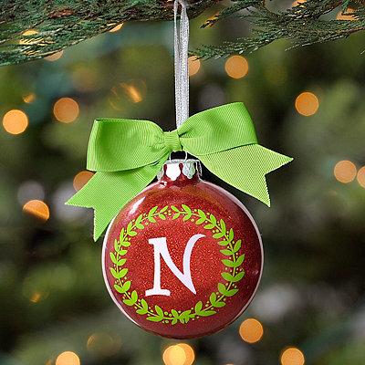 Wreath Glitter Monogram N Ornament