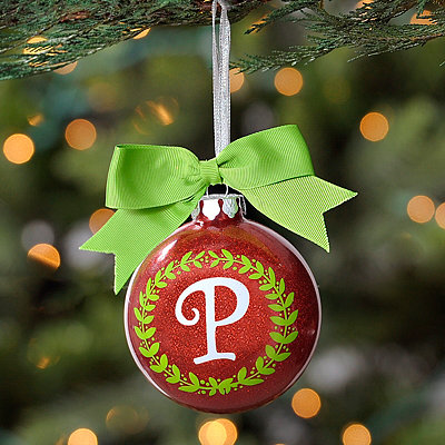 Wreath Glitter Monogram P Ornament