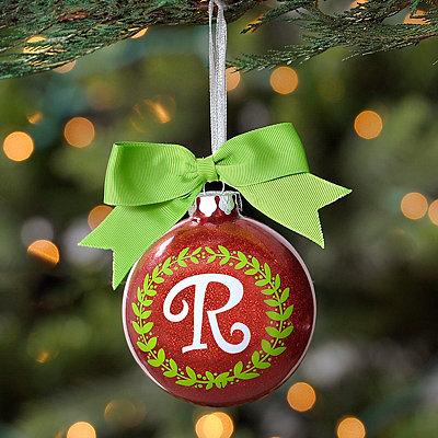 Wreath Glitter Monogram R Ornament