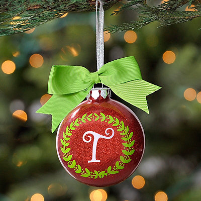 Wreath Glitter Monogram T Ornament