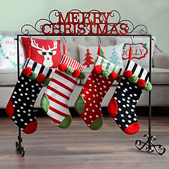 Merry Christmas Metal Stocking Holder