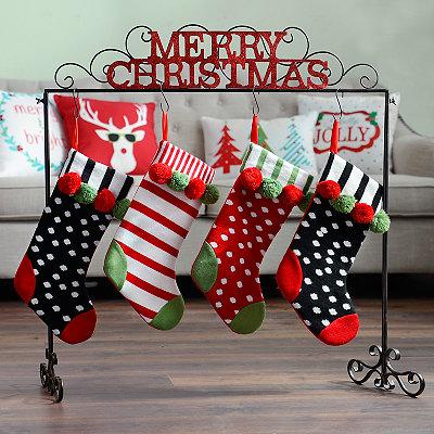 Merry Christmas Metal Stocking Holder